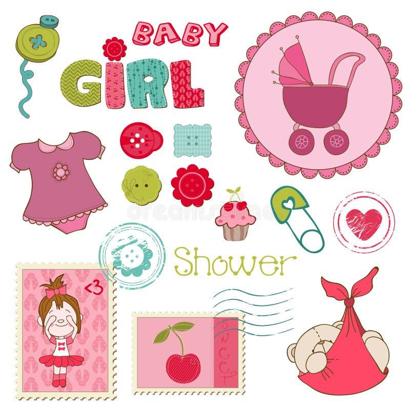 Σύνολο κοριτσιών ντους μωρών λευκώματος αποκομμάτων διανυσματική απεικόνιση