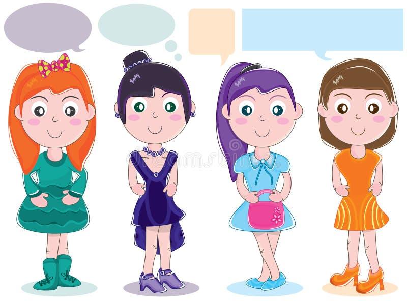 Σύνολο κοριτσιών χαρακτήρα σχεδίου υφασμάτων ελεύθερη απεικόνιση δικαιώματος