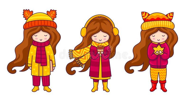 Σύνολο κοριτσιών brunette, που φορά τα παλτά φθινοπώρου, τα καπέλα με τα αυτιά και τα μαντίλι ελεύθερη απεικόνιση δικαιώματος