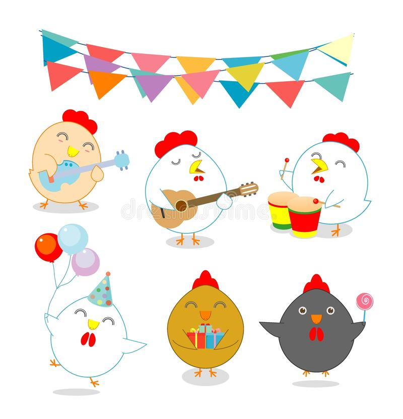 Σύνολο κοτόπουλου κομμάτων, κόκκορας, κόκκορας, κότα, νεοσσός, τσούρμο, πτερύγιο, νεανική, παχουλή, διανυσματική απεικόνιση απεικόνιση αποθεμάτων