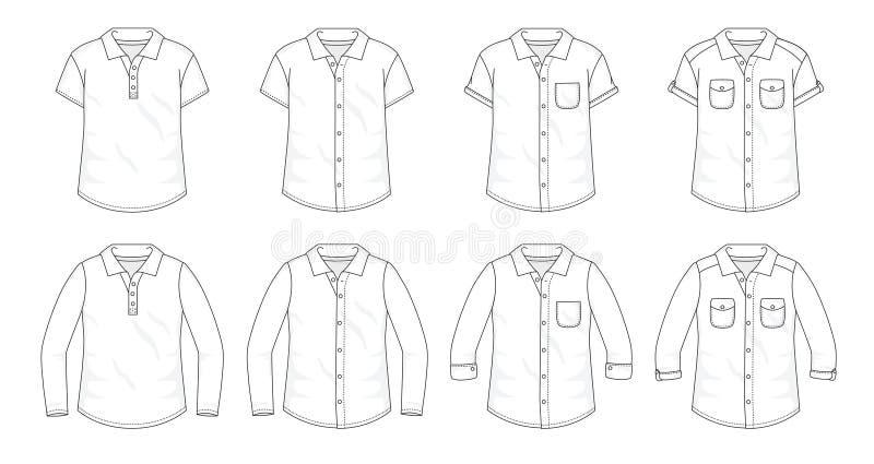 Σύνολο κουμπιού πουκάμισων επάνω στις μπλούζες απεικόνιση αποθεμάτων