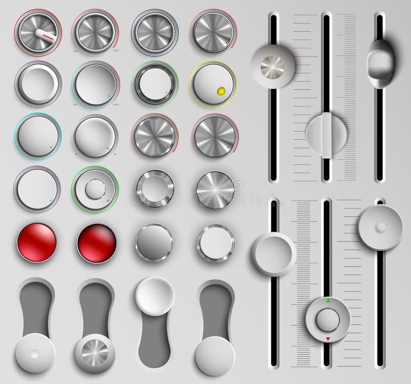 Σύνολο κουμπιών και faders, έλεγχος όγκου απεικόνιση αποθεμάτων