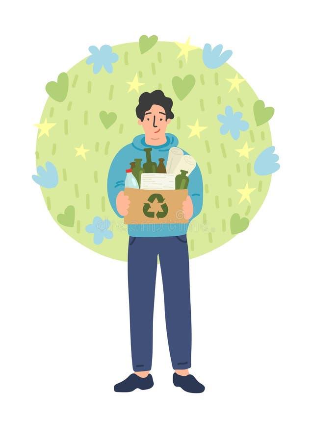 Σύνολο κουτιών από χαρτόνι εκμετάλλευσης ατόμων των διαφορετικών καλών αποβλήτων ελεύθερη απεικόνιση δικαιώματος