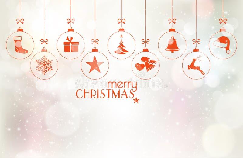 Σύνολο κρεμώντας μπιχλιμπιδιών Χριστουγέννων πέρα από το ασημένιο υπόβαθρο ελεύθερη απεικόνιση δικαιώματος