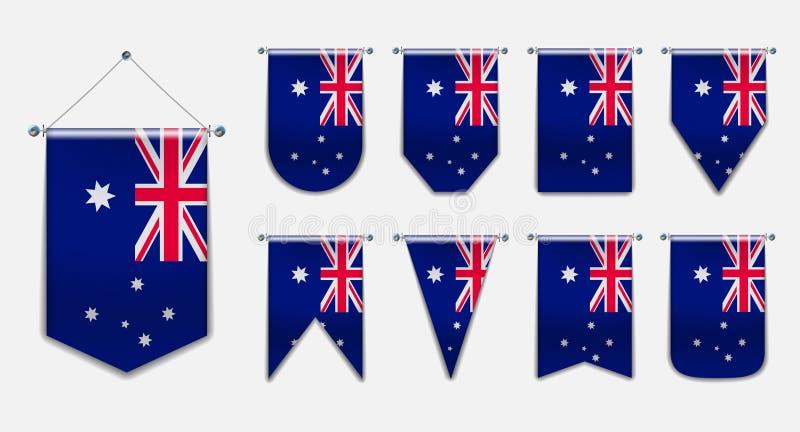 Σύνολο κρεμώντας σημαιών της ΑΥΣΤΡΑΛΙΑΣ με την υφαντική σύσταση Κάθετη σημαία προτύπων για το υπόβαθρο, έμβλημα, Ιστός, λογότυπο, διανυσματική απεικόνιση