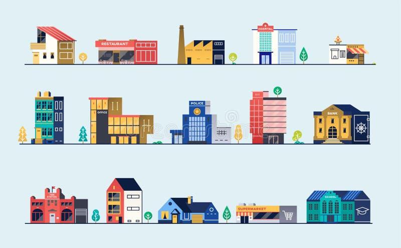 Σύνολο κτηρίων πόλεων απεικόνιση αποθεμάτων