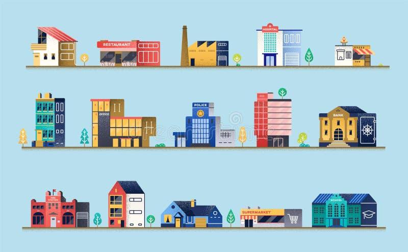 Σύνολο κτηρίων πόλεων ελεύθερη απεικόνιση δικαιώματος
