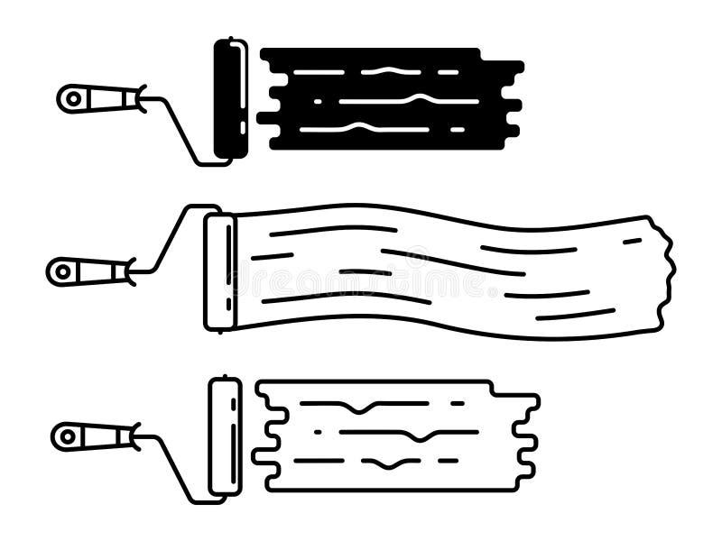 Σύνολο κυλίνδρων χρωμάτων με τα χρωματισμένα γραμμικά εικονίδια επιφανειών των βουρτσών κυλίνδρων ελεύθερη απεικόνιση δικαιώματος