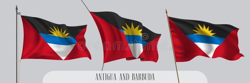 Σύνολο κυματίζοντας σημαίας της Αντίγκουα και της Μπαρμπούντα στην απομονωμένη διανυσματική απεικόνιση υποβάθρου ελεύθερη απεικόνιση δικαιώματος