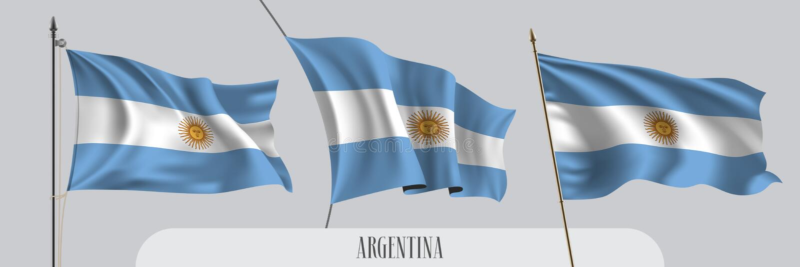 Σύνολο κυματίζοντας σημαίας της Αργεντινής στην απομονωμένη διανυσματική απεικόνιση υποβάθρου ελεύθερη απεικόνιση δικαιώματος