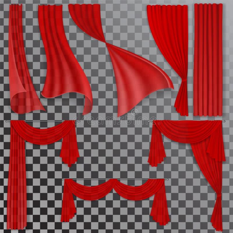Σύνολο κόκκινων διαφανών κουρτινών απεικόνιση αποθεμάτων