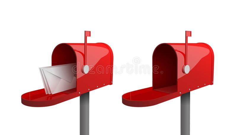 Σύνολο κόκκινων ταχυδρομικών θυρίδων με μια κλειστή πόρτα, μια αυξημένη σημαία, με μια ανοιχτή πόρτα και τις επιστολές μέσα απεικόνιση αποθεμάτων