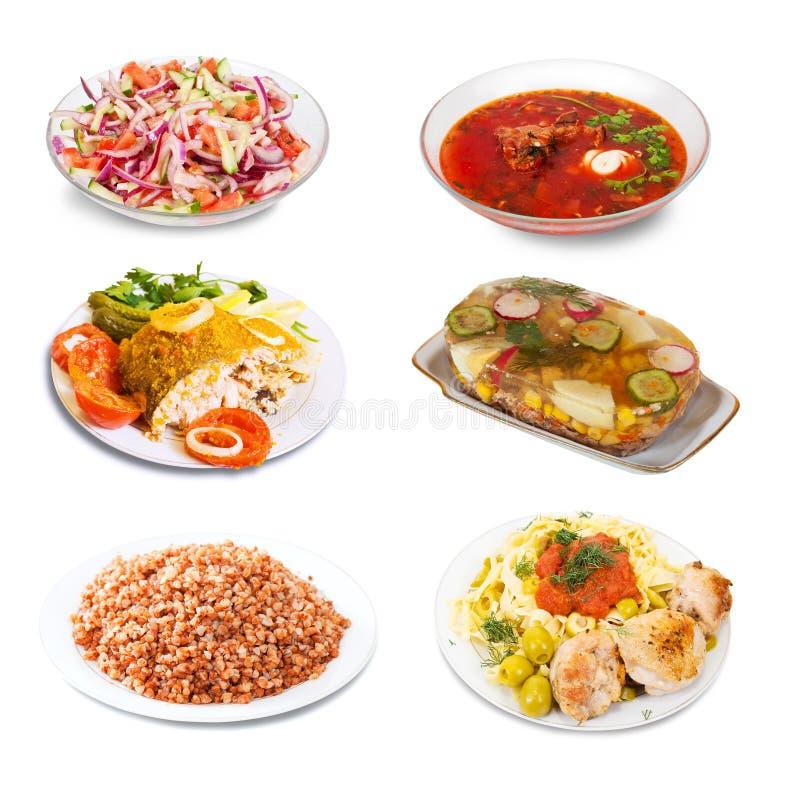 Σύνολο λίγων πιάτων με τα τρόφιμα στοκ φωτογραφία
