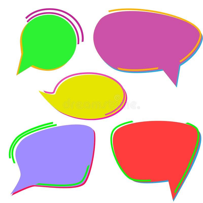 Σύνολο λαμπρά-χρωματισμένων συρμένων χέρι λεκτικών φυσαλίδων o ελεύθερη απεικόνιση δικαιώματος