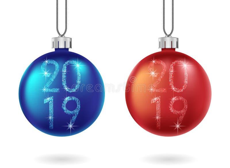 Σύνολο λαμπρής κόκκινης και μπλε σφαίρας Χριστουγέννων που απομονώνεται Το σπινθήρισμα ακτινοβολεί μπιχλιμπίδι με το κείμενο του  απεικόνιση αποθεμάτων