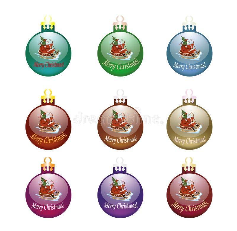 Σύνολο λαμπρής σφαιρικής διακόσμησης εννέα των χριστουγεννιάτικων δέντρων απεικόνιση αποθεμάτων