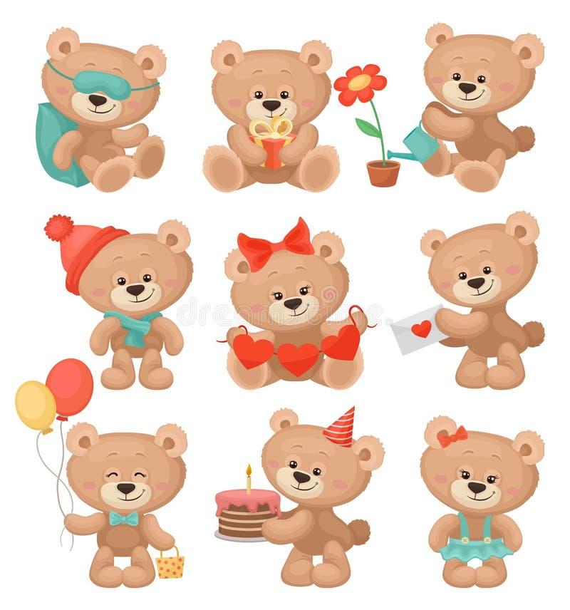 Σύνολο λατρευτών teddy αρκούδων στις διαφορετικές ενέργειες Επίπεδο διάνυσμα για τη ευχετήρια κάρτα ή το βιβλίο παιδιών διανυσματική απεικόνιση