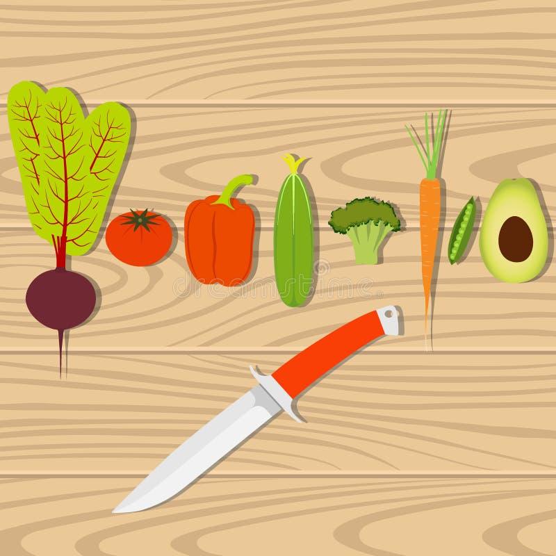 Σύνολο λαχανικών και μαχαιριού σε έναν ξύλινο πίνακα για το μαγείρεμα των υγιών vegan τροφίμων Γλυκό πιπέρι, ντομάτα, αβοκάντο, μ ελεύθερη απεικόνιση δικαιώματος