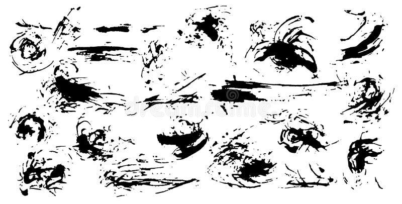 Σύνολο λεκέδων και παφλασμών μελανιού Συλλογή των βουρτσών τέχνης για τη δημιουργική απεικόνιση σχεδίου στο ύφος grunge διάνυσμα διανυσματική απεικόνιση