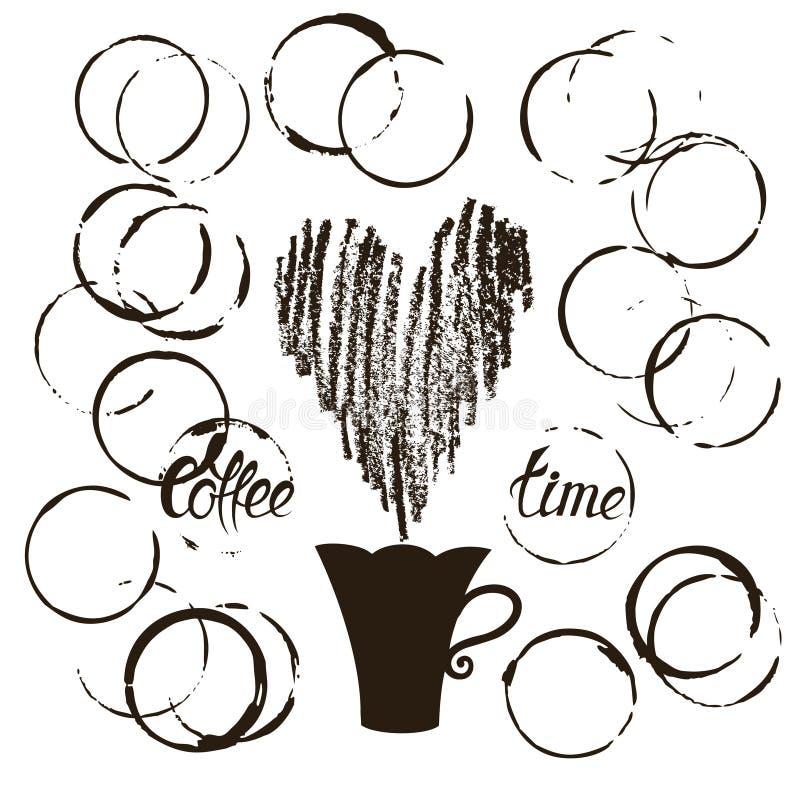 Σύνολο λεκέδων φλυτζανιών καφέ grunge διανυσματική απεικόνιση