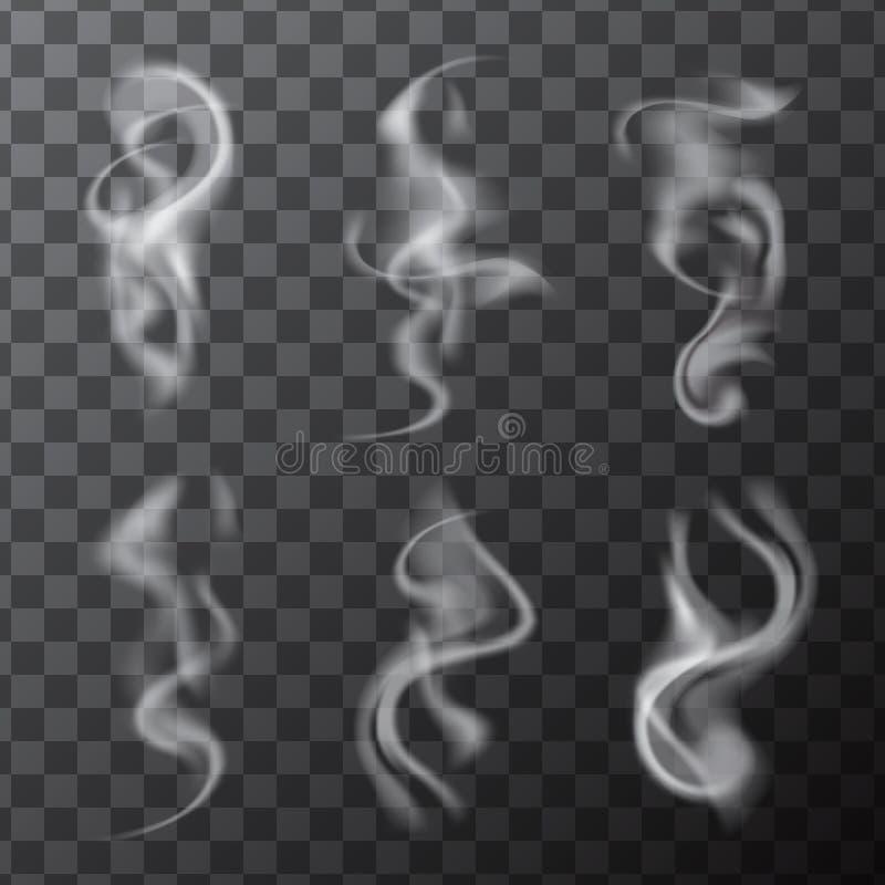 Σύνολο λεπτών ρεαλιστικών κυμάτων καπνού τσιγάρων απεικόνιση αποθεμάτων