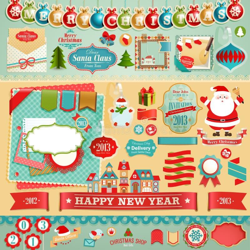 Σύνολο λευκώματος αποκομμάτων Χριστουγέννων ελεύθερη απεικόνιση δικαιώματος
