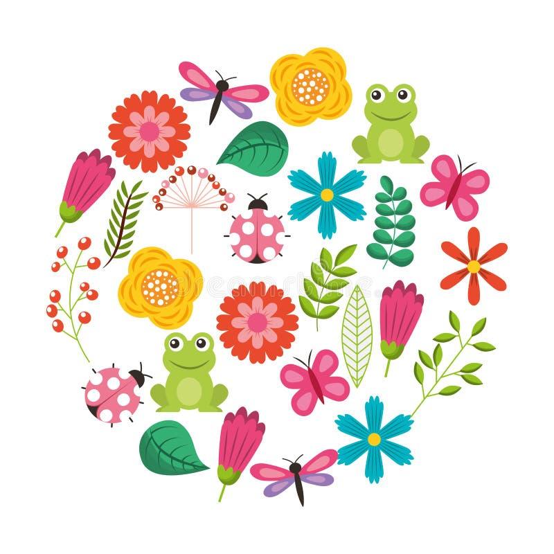 Σύνολο λιβελλούλης βατράχων πεταλούδων πουλιών αγάπης λουλουδιών φύσης θέματος άνοιξη ladybugs διανυσματική απεικόνιση