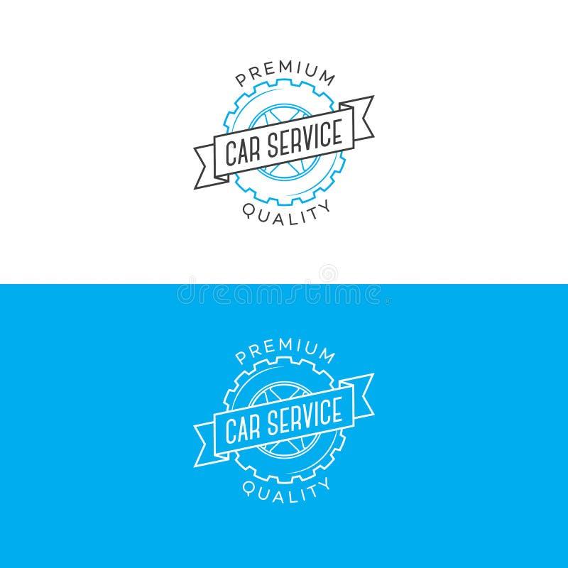 Σύνολο λογότυπου υπηρεσιών αυτοκινήτων το ύφος γραμμών εργαλείων και κορδελλών που απομονώνεται με στο υπόβαθρο για την αποτύπωση ελεύθερη απεικόνιση δικαιώματος