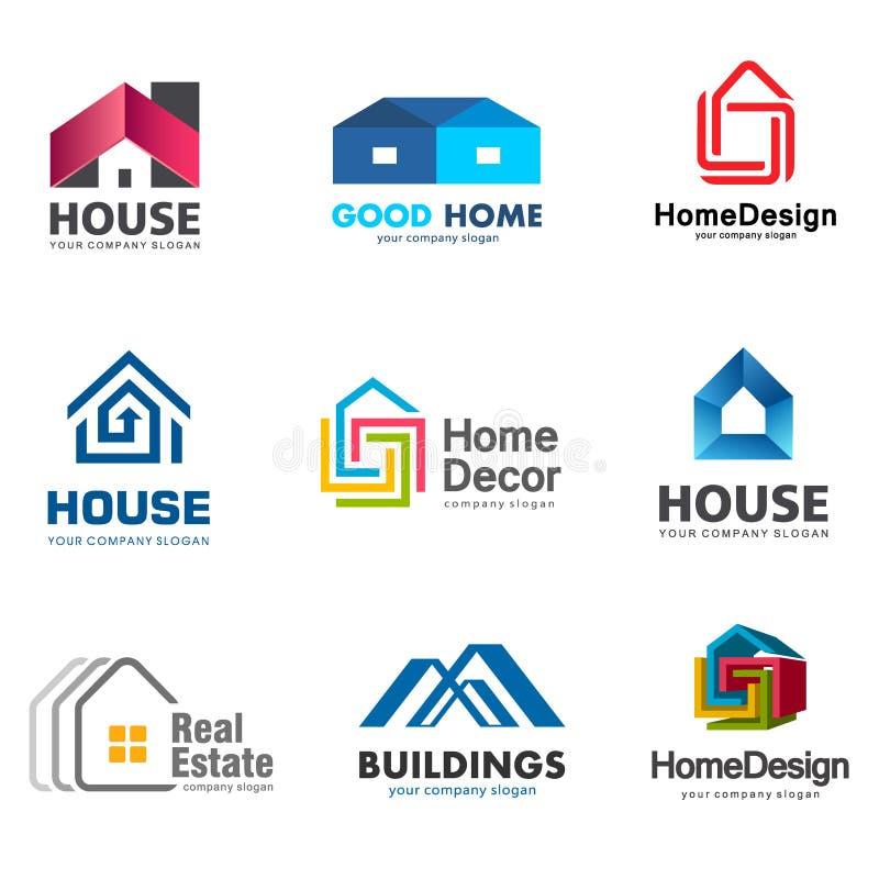 Σύνολο λογότυπων ακίνητων περιουσιών και οικοδόμησης Διανυσματικό πρότυπο λογότυπων σπιτιών απεικόνιση αποθεμάτων