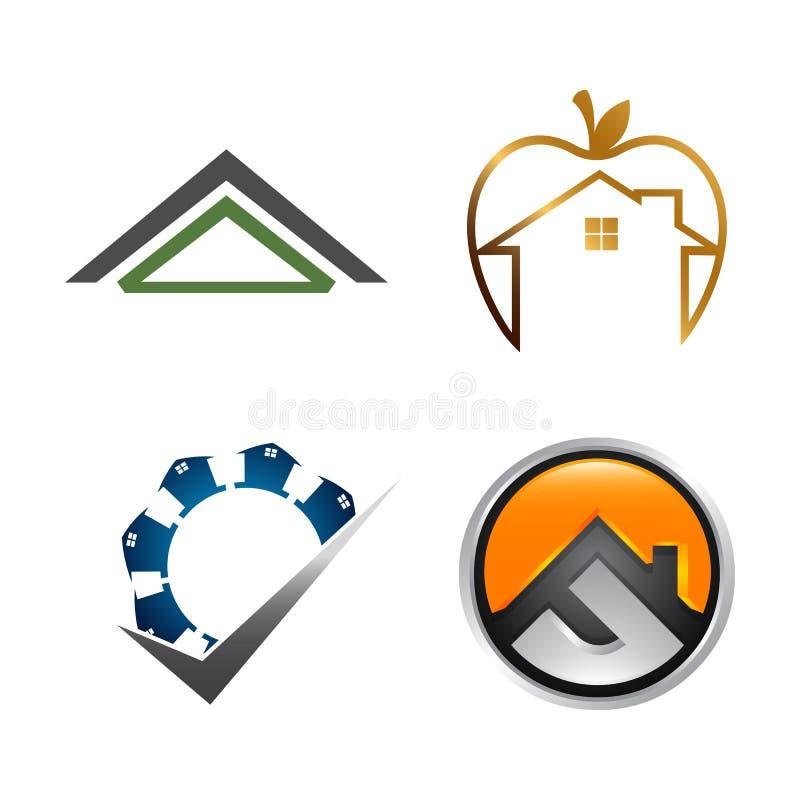 Σύνολο λογότυπων ακίνητων περιουσιών Σχέδιο λογότυπων συλλογής κτηρίου και οικοδόμησης απεικόνιση αποθεμάτων