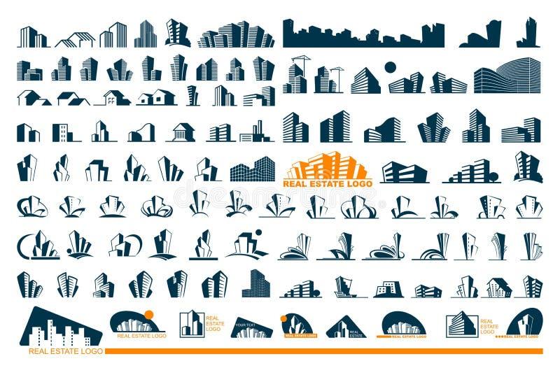 Σύνολο λογότυπων ακίνητων περιουσιών απεικόνιση αποθεμάτων
