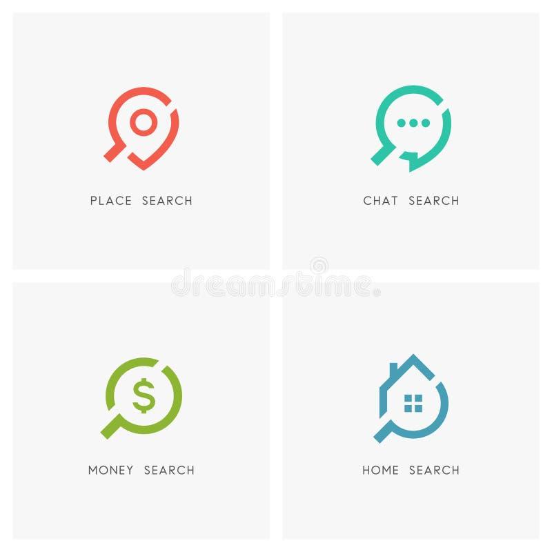 Σύνολο λογότυπων αναζήτησης διανυσματική απεικόνιση