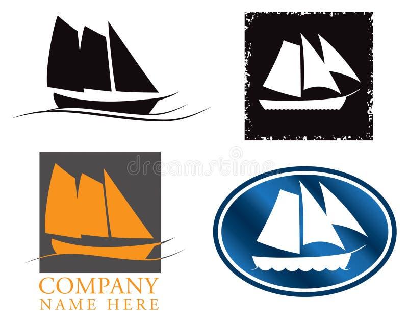 Σύνολο λογότυπων βαρκών πανιών διανυσματική απεικόνιση