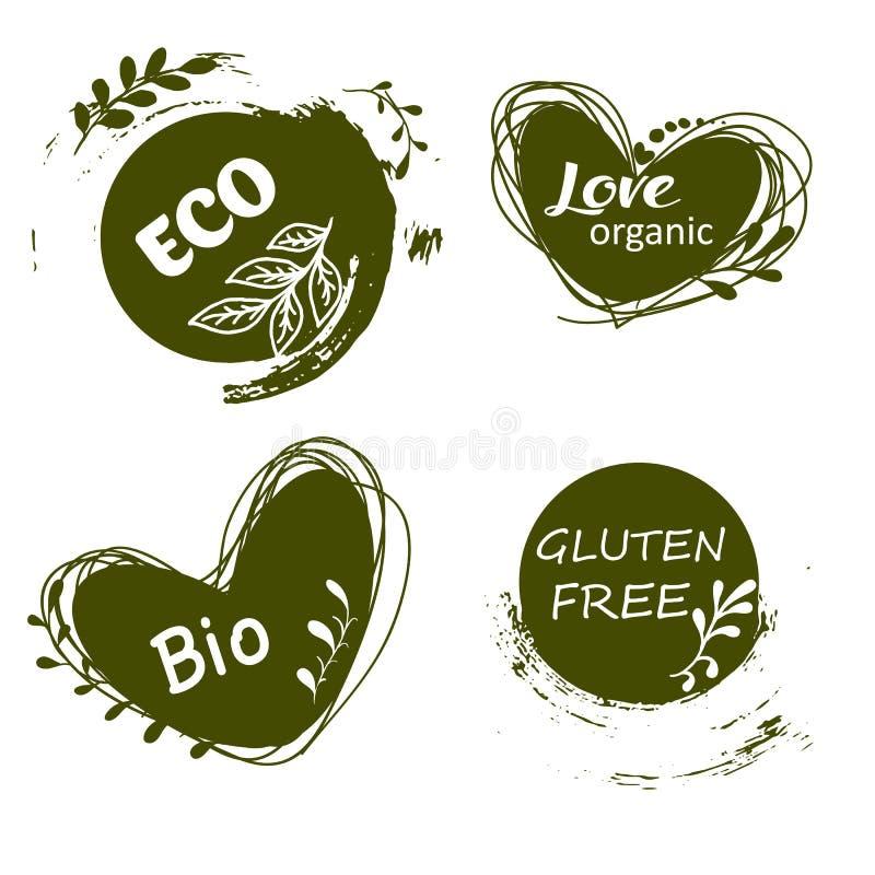 Σύνολο λογότυπων, εικονίδια, στοιχεία σχεδίου Φυσικά τρόφιμα, οργανική τροφή, χορτοφάγα τρόφιμα διανυσματική απεικόνιση