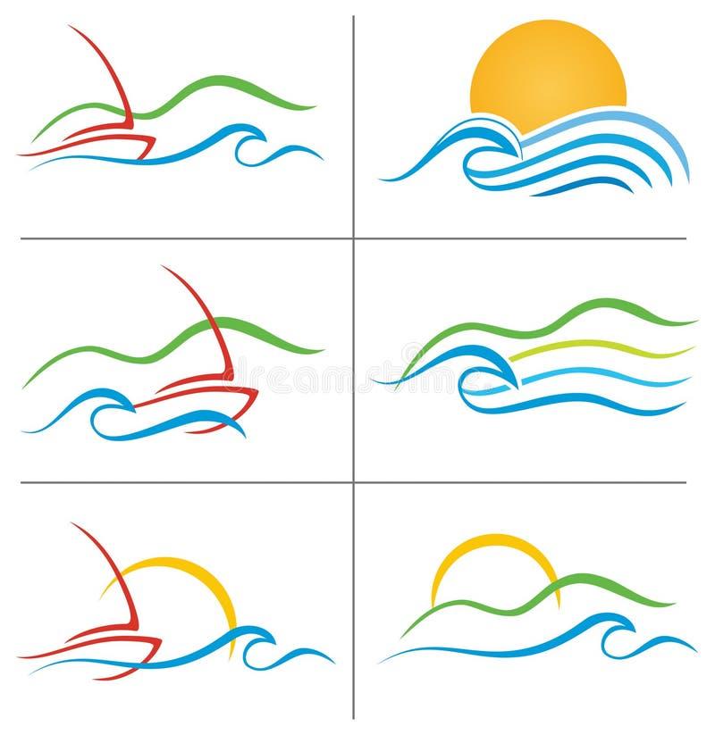 Σύνολο λογότυπων ηλιοβασιλέματος ύδατος βαρκών ελεύθερη απεικόνιση δικαιώματος