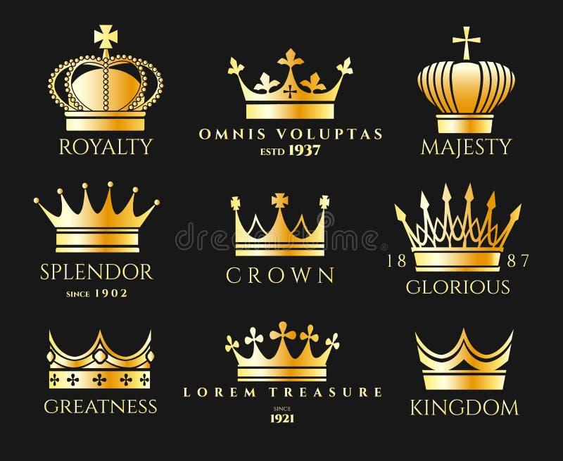 Σύνολο λογότυπων κορωνών ελεύθερη απεικόνιση δικαιώματος