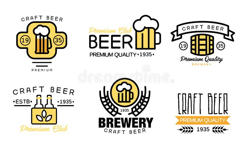 Σύνολο λογότυπων μπύρας τεχνών, εκλεκτής ποιότητας ετικέτες εξαιρετικής ποιότητας ζυθοποιείων, διακριτικά για το σπίτι μπύρας, φρ διανυσματική απεικόνιση