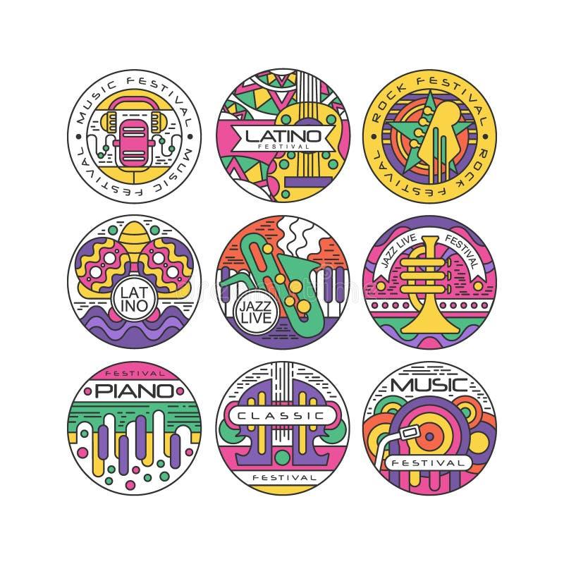 Σύνολο λογότυπων φεστιβάλ μουσικής, λατίνος, Jazz, πιάνο, βράχος, κλασικές στρογγυλές ετικέτες ή διανυσματικές απεικονίσεις αυτοκ διανυσματική απεικόνιση