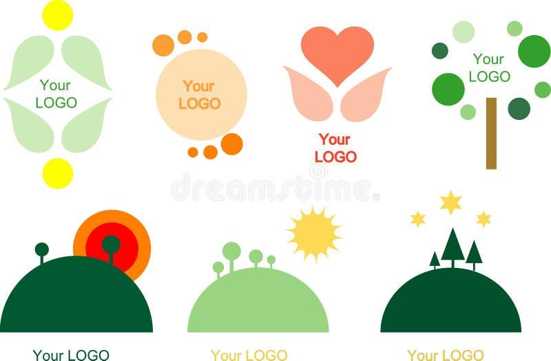 σύνολο λογότυπων 7 στοιχ&e διανυσματική απεικόνιση