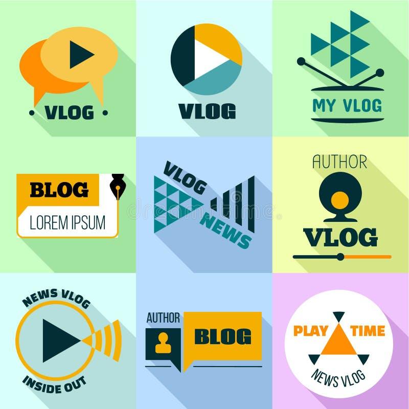 Σύνολο λογότυπων Vlog, επίπεδο ύφος ελεύθερη απεικόνιση δικαιώματος