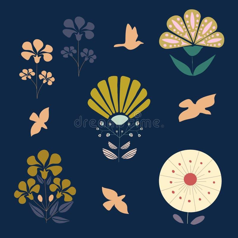 Σύνολο λουλουδιών deco τέχνης, διανυσματικά εικονίδια ελεύθερη απεικόνιση δικαιώματος