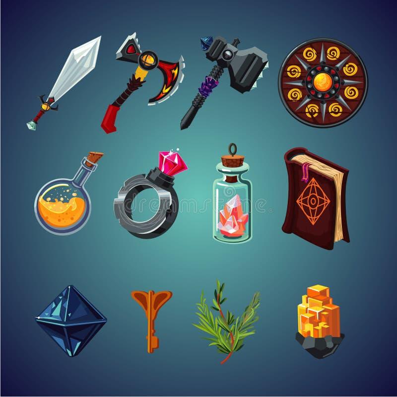 Σύνολο μαγικών στοιχείων για το παιχνίδι φαντασίας υπολογιστών Εικονίδια κινούμενων σχεδίων καθορισμένα απεικόνιση αποθεμάτων