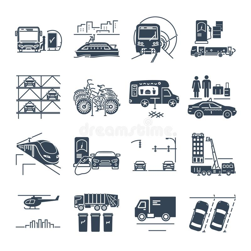 Σύνολο μαύρης δημοτικής μεταφοράς εικονιδίων, εγκατάσταση δημόσιας χρήσης ελεύθερη απεικόνιση δικαιώματος