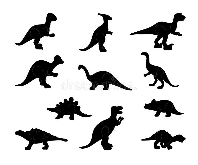 Σύνολο μαύρης σκιαγραφίας των δεινοσαύρων r ελεύθερη απεικόνιση δικαιώματος