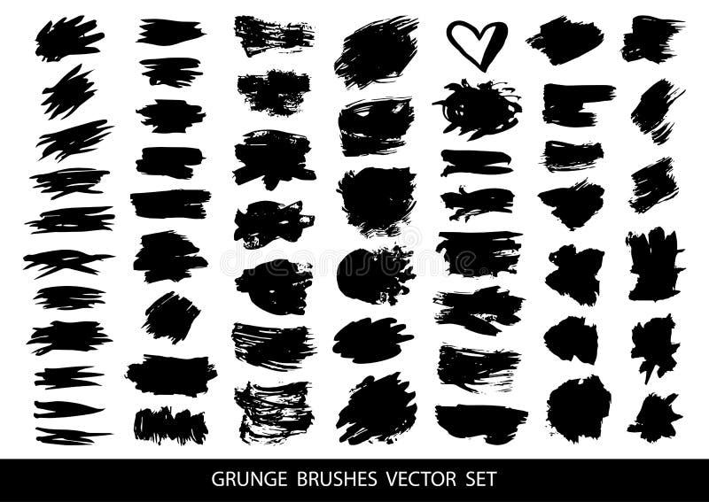 Σύνολο μαύρου χρώματος, βούρτσες, γραμμές Βρώμικα καλλιτεχνικά στοιχεία σχεδίου, κιβώτια, πλαίσια για το κείμενο r ελεύθερη απεικόνιση δικαιώματος