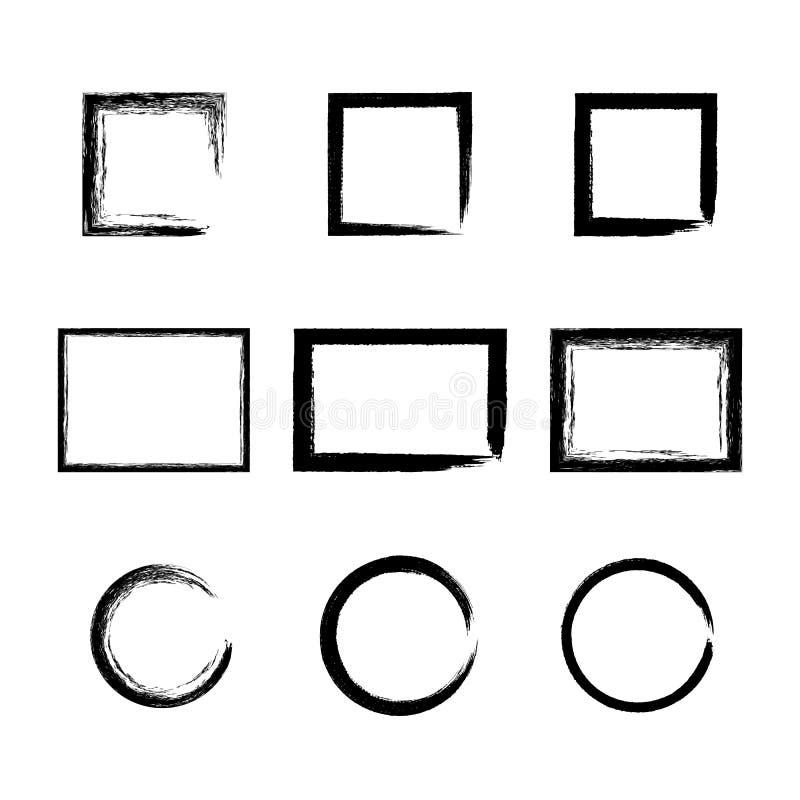 Σύνολο μαύρων διανυσματικών πλαισίων μελανιού grunge διανυσματική απεικόνιση