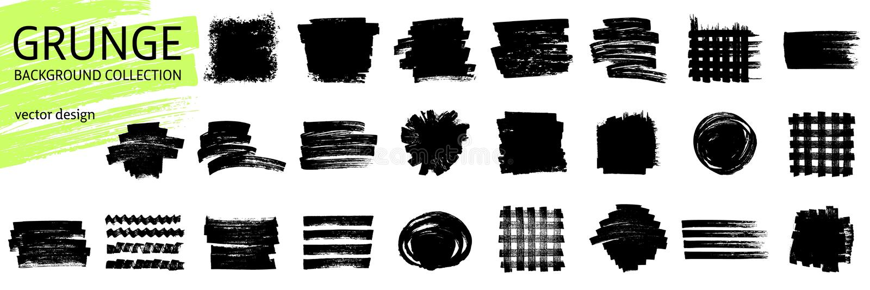 Σύνολο μαύρων διανυσματικών στοιχείων κτυπήματος μελανιού ελεύθερη απεικόνιση δικαιώματος