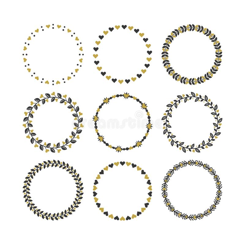 Σύνολο μαύρων και χρυσών εμβλημάτων κύκλων με τα διακοσμητικά γραμματόσημα σχεδίων συνόρων καρδιών και και στοιχείων σχεδίου καθο διανυσματική απεικόνιση