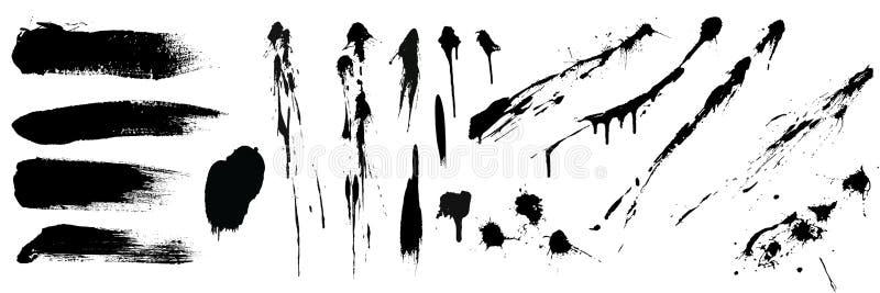 Σύνολο μαύρων υψηλών κτυπημάτων και παφλασμών λεπτομέρειας brushe r απεικόνιση αποθεμάτων