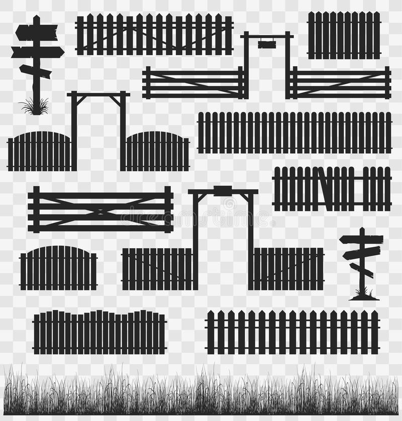 Σύνολο μαύρων φρακτών με τις πύλες απεικόνιση αποθεμάτων